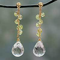 Gold vermeil prasiolite and peridot dangle earrings, 'Meadows' - Prasiolite Gold Vermeil Earrings with Peridot