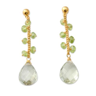 Prasiolite Gold Vermeil Earrings with Peridot