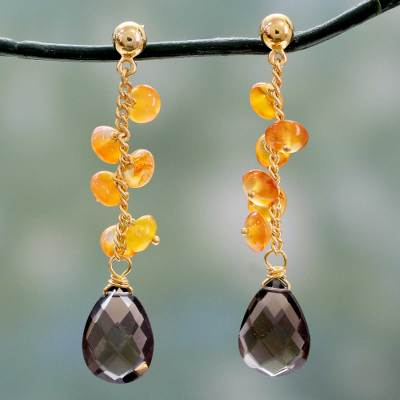 Gold vermeil onyx and smoky quartz dangle earrings, 'Eternal Mist' - Fair trade Onyx and Smoky Quartz Gold Vermeil Earrings