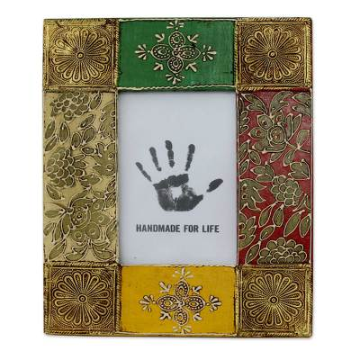 Brass photo frame, 'Bollywood Beauty' (4x6) - Handcrafted Embossed Brass 4 x 6 Photo Frame from India