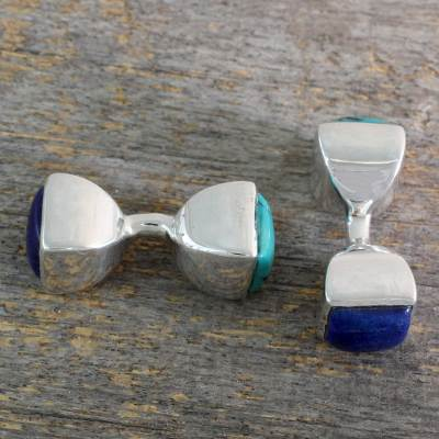 Turquoise and lapis lazuli cufflinks, 'Dreamer' - Lapis Lazuli and Turquoise Silver Cufflinks from India
