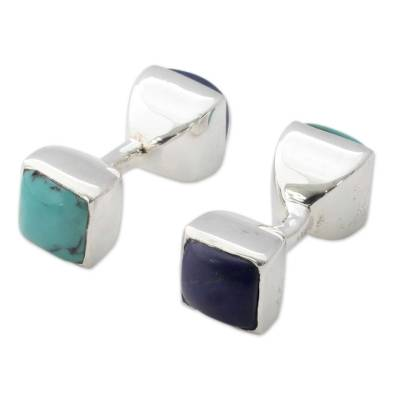 Lapis Lazuli and Turquoise Silver Cufflinks from India
