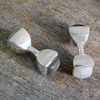 Rainbow moonstone and labradorite cufflinks, 'Dreamer' - Moonstone and Labradorite Silver Cufflinks from India