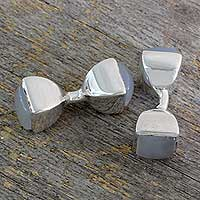 Chalcedony cufflinks, 'Dreamer' - Handcrafted Silver and Chalcedony Cufflinks from India