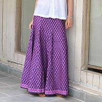 Cotton long skirt, 'Radiant Orchid Blossom' - Women's Purple and Lilac Floral Print Long Skirt from India