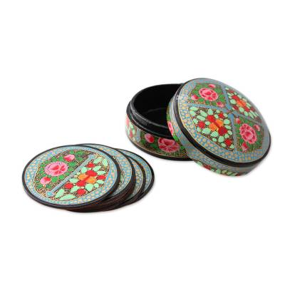 Artisan Crafted Papier Mache Coasters with Holder (Set of 6)