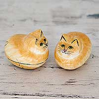 Papier mache boxes, 'Charismatic Cats' (pair) - Artisan Crafted Decorative Papier Mache Cat Boxes