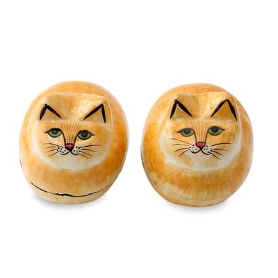 Artisan Crafted Decorative Papier Mache Cat Boxes