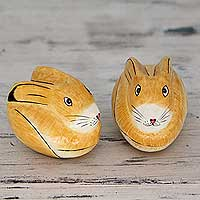 Papier mache boxes, 'Charismatic Rabbits' (pair) - Artisan Crafted Papier Mache Decorative Bunny Boxes (Pair)