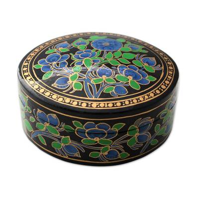 Papier mache box, 'Blue Grandeur' - Hand Painted Papier Mache Round Decorative Box