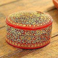 Papier mache box, 'Ruby Gold Bouquet' - Decorative Papier Mache Box Artisan Crafted in India