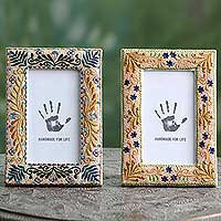 Beaded photo frames, 'Precious Memories' (3x5, pair) - Two Embroidered Beaded Floral Photo Frames Set (3 x 5)