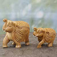 Wood sculptures, 'Parade in Agra' (pair) - Hand-Carved India Kadam Wood Elephant Sculptures (Pair)