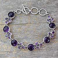 Amethyst link bracelet, 'Glorious Purple' - Artisan Crafted Silver Link Bracelet with Amethysts