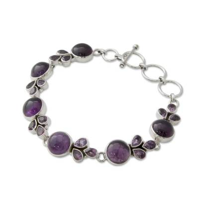 Artisan Crafted Silver Link Bracelet with Amethysts