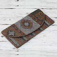 Beaded clutch bag, 'Tribal Glam' - Hand-Beaded Women's Clutch Handbag in Metallic Tones