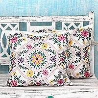 Cotton cushion covers, 'Floral Carousel' (pair) - Bright Flower Embroidery White Cotton Cushion Covers (Pair)
