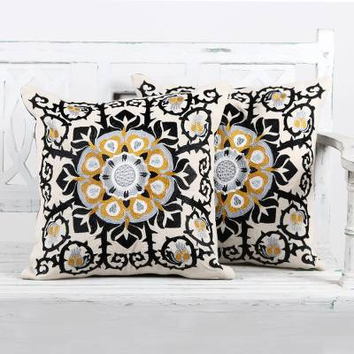 Cotton cushion covers, 'Jaipur Blossom' (pair) - Embroidered Cotton Ecru Cushion Covers from India (Pair)