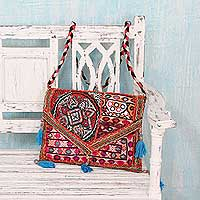 Cotton shoulder bag, 'Red Rajasthan' - Embroidered Red Patchwork Cotton Shoulder Bag with Sequins