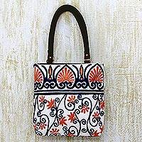 Leather accent cotton tote handbag, 'Peach Blossom' - India Chain Stitch Embroidery Leather Accent Cotton Tote