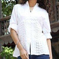 Cotton blouse, 'Peaceful White' - 100% Cotton Hand Embroidered White Blouse from India