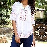 Cotton blouse, 'Flowers of Chowk' - Feminine White Cotton Blouse with Colorful Hand Embroidery