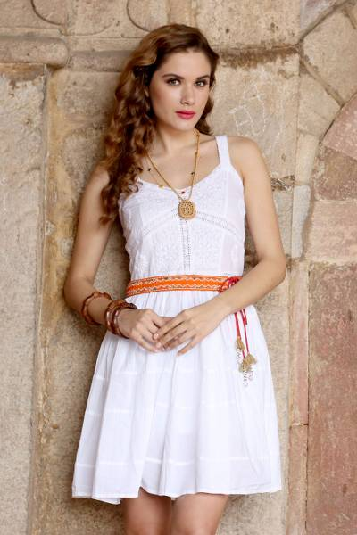 Cotton dress, 'Snow White Blossoms' - Cotton Floral Embroidered Dress in Snow White from India