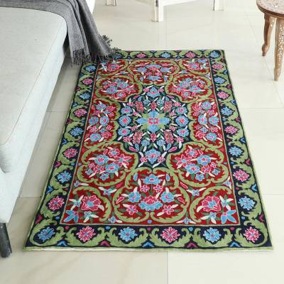 Wool chain stitch rug, 'Kashmir Festival' (3x5) - Handcrafted Floral Geometric 3 by 5 Ft Chain Stitch Rug
