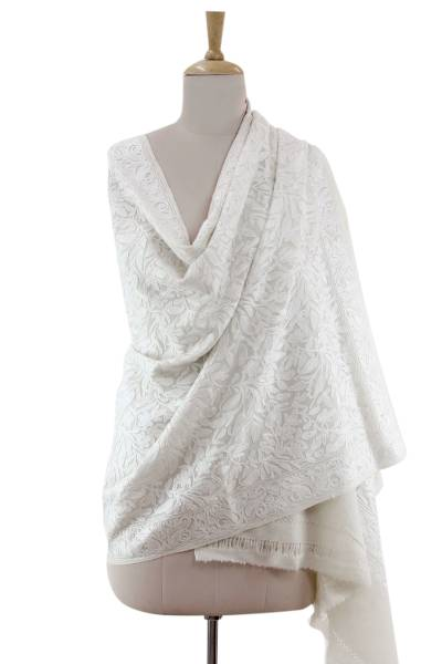 Wool shawl, 'Snowy Chrysanthemums' - White on Cream Floral Chain Stitch Embroidered Shawl