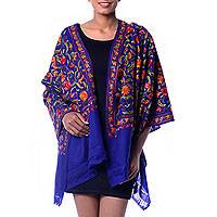 Wool shawl, 'Colorful Crocus' - Blue Floral Shawl with Colorful Chain Stitch Embroidery