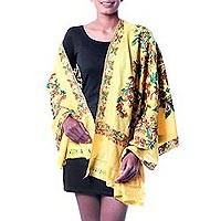 Wool shawl, 'Flowers in the Sun' - India Yellow Floral Shawl with Chain Stitch Embroidery