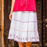 Cotton skirt, 'Colorful Blossoms' - Cotton Floral Embroidered Skirt in Snow White from India