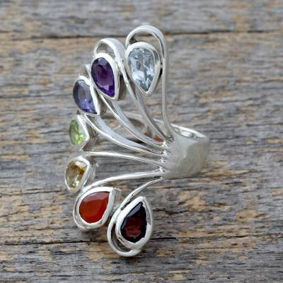 Multi-gemstone .925 Silver Ring Chakra Jewelry from India