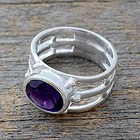 Amethyst single stone ring, 'Twilight Mood' - 4-carat Amethyst on Sterling Silver Ring Pisces Jewelry