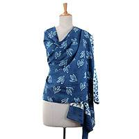 Cotton shawl, 'Indigo Leaves' - Hand Block Printed Shawl Blue Cotton Wrap from India