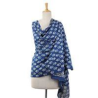 Cotton shawl, 'Indigo Daisies' - Blue Floral Cotton Shawl Wrap Block Printed in India