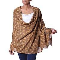 Cotton shawl, 'Golden Dabu Leaves' - Brown Mud Resist Dabu Print Cotton Shawl from India