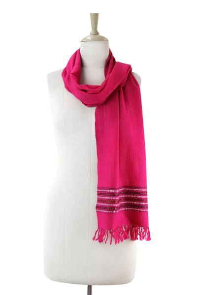 Wool scarf, 'Fuchsia Kutch Splendor' - Hand Woven Fuchsia Wool Scarf with Multi Color Bands