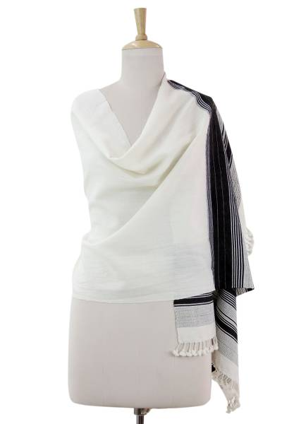 Wool shawl, 'Kutchi Harmony' - Fair Trade Black and Off White Shawl Hand Woven Wool