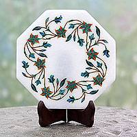 Marble inlay decorative plate, 'Ivy Garland' - Makrana Marble Inlay Decorative Indian Plate and Stand