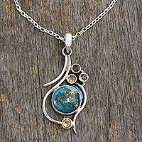 Citrine pendant necklace, 'Golden Sky' - .925 Silver Necklace with Citrine and Composite Turquoise