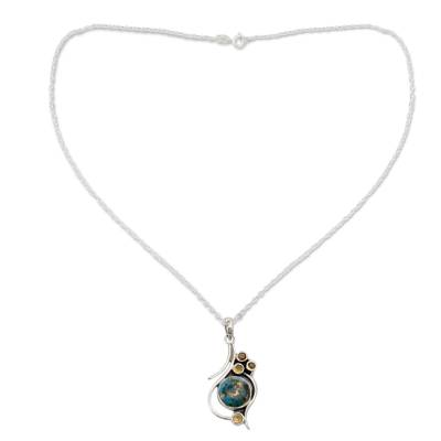 Unique Silver Jewelry Necklace with Citrine and Turquoise