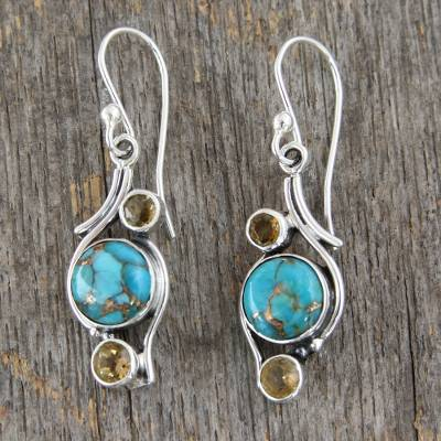 Citrine dangle earrings, 'Golden Sky' - .925 Silver Earrings with Citrine and Composite Turquoise