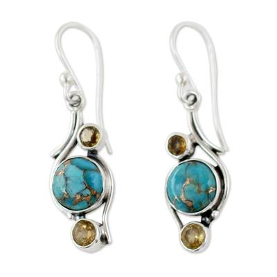 Fair Trade Silver Earrings with Citrine and Turquoise