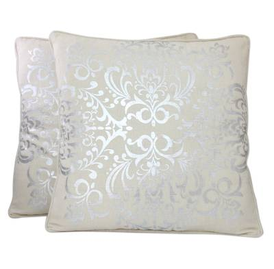 Cotton cushion covers, 'Silver Celebration' (pair) - Silver Flowers on Off White Cushion Covers from India (Pair)