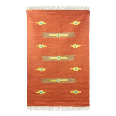 Wool rug, 'Sand Crab' (4x6) - Rust Brown Indian Handwoven Dhurrie Rug (4x6)