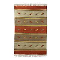 Wool rug, 'Falling Leaves in Autumn' (4x6) - Indian Striped 4 by 6 Foot Handwoven Dhurrie Rug