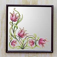 Marble dust wall mirror, 'Lily Delight' - Framed Marble Dust Floral Wall Mirror from India