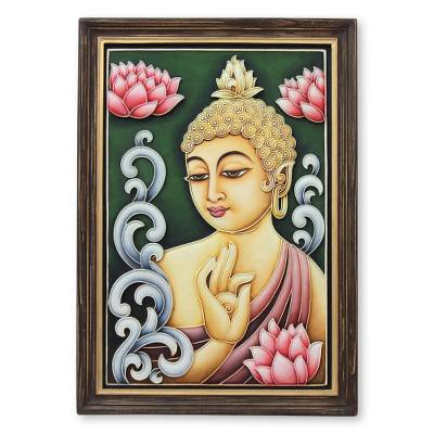 Marble dust relief panel, 'Buddha Reigns in Peace' - Framed Marble Dust Relief Panel from India