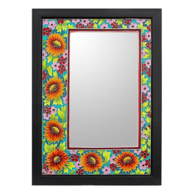 Framed Enameled Floral Wall Mirror from India